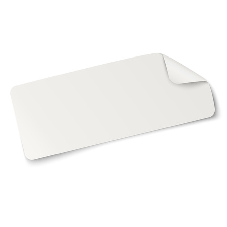oblong: Rectangular oblong paper sticker note isolated on white. Light from upper left.