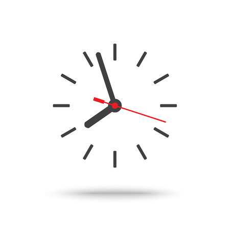 Clock icon with second hand isolated Illustration