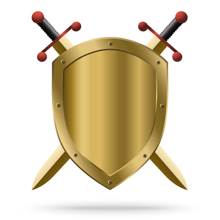 Double-edged golden swords and medieval shield Illustration