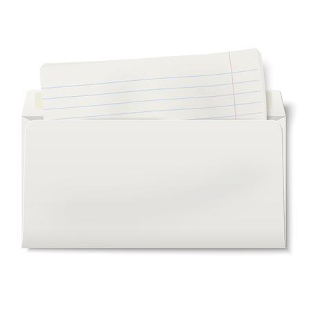backside: View of backside of opened DL envelope with lined paper inside isolated on white background