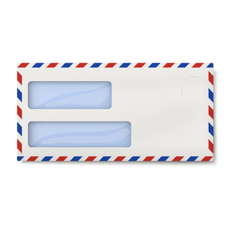 Air mail DL envelope with two windows for addressee and return, senders address isolated Illustration