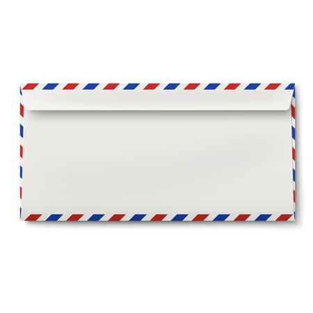 backside: View of backside of slightly opened DL air mail envelope Illustration