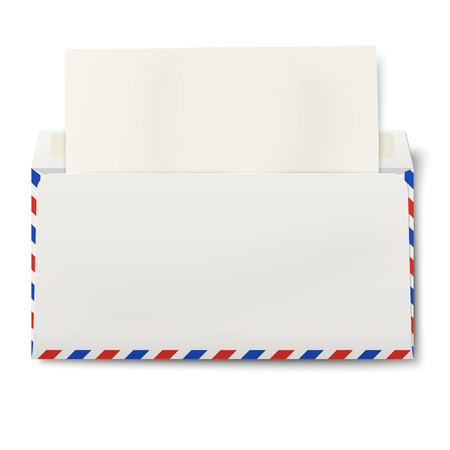 lined up: View of backside of opened DL air mail envelope with white paper inside