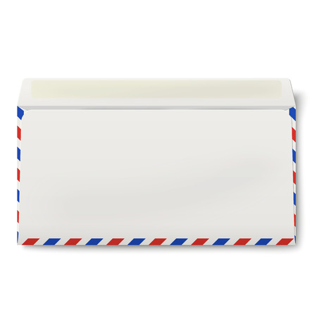 backside: View of backside of opened DL air mail envelope inside