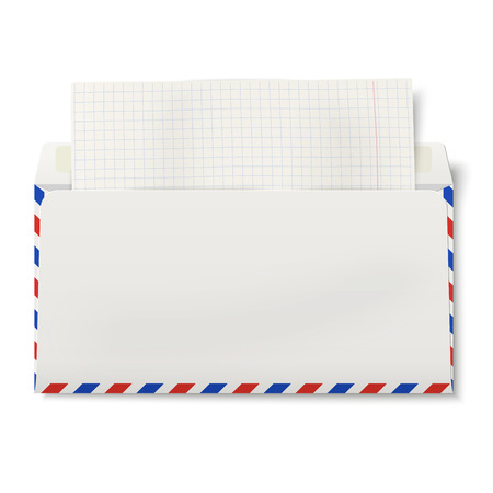 backside: View of backside of opened DL air mail envelope with squared paper inside Illustration