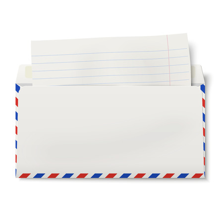 backside: View of backside of opened DL air mail envelope with lined paper inside