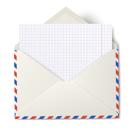 Opened air mail envelope with white sheet of squared paper inside isolated Illustration