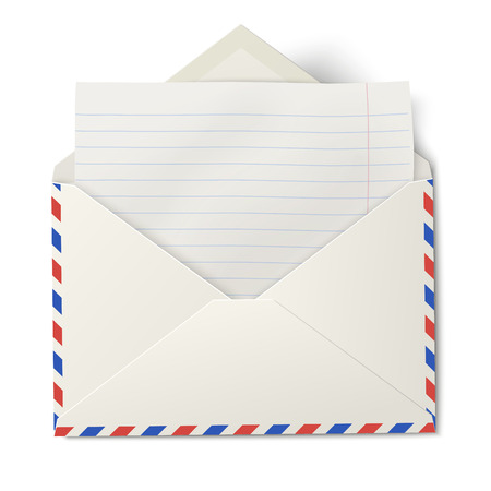 lined paper: Opened air mail envelope with white lined paper inside isolated Illustration