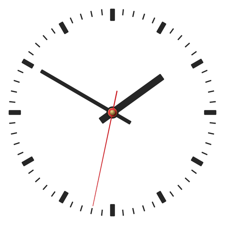 Simple classic clock placed on white background