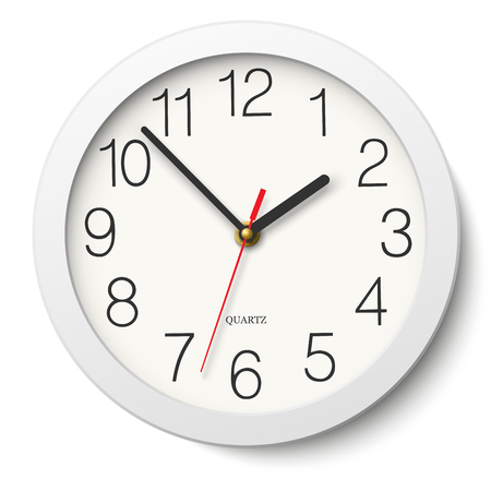 divisions: Round wall clock without divisions in white body isolated