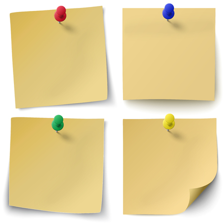 Set of yellow sticky notes isolated on white background with red, green, blue push-pins. Stock Vector - 67762078