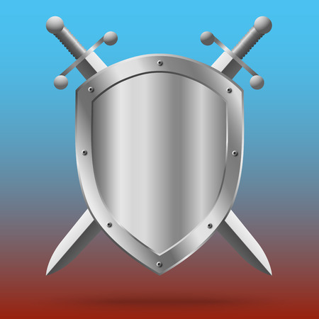 Double-edged swords and medieval shield