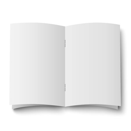 Blank white opened double spread of magazine, journal isolated
