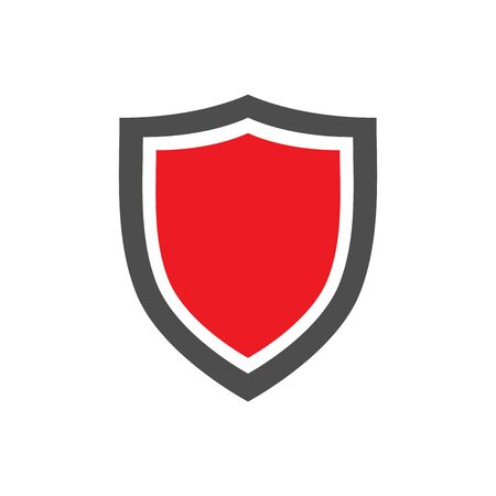Protection shield icon with red center placed on white background