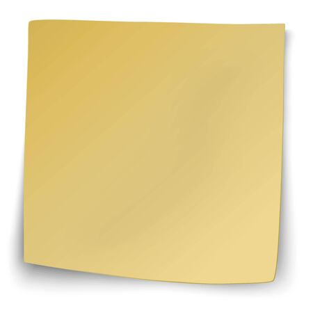 coordinated: Yellow sticky note with turned up corners isolated on white background Illustration