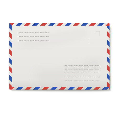 Air mail white envelope isolated