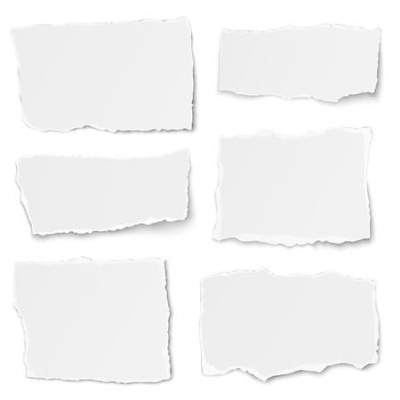 newspaper headline: Set of paper different shapes tears isolated on white background