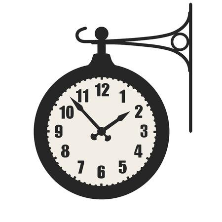 señal de reloj de la estación de tren, símbolo aislado en el fondo blanco Ilustración de vector