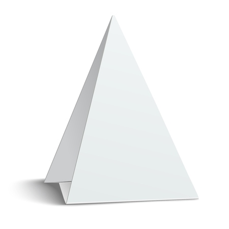 placecard: Three-cornered, triangular blank paper table card isolated on white background Illustration