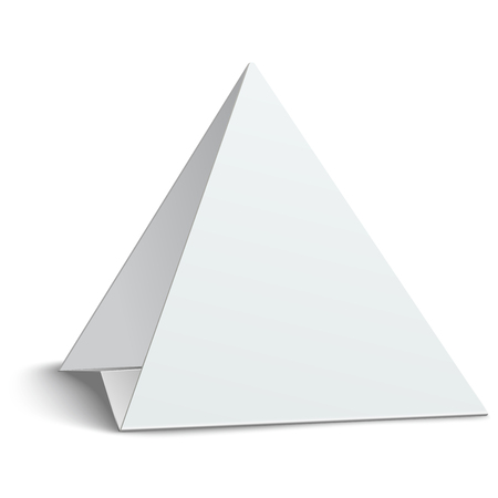 placecard: Three-cornered, triangular blank paper table card isolated on white Illustration