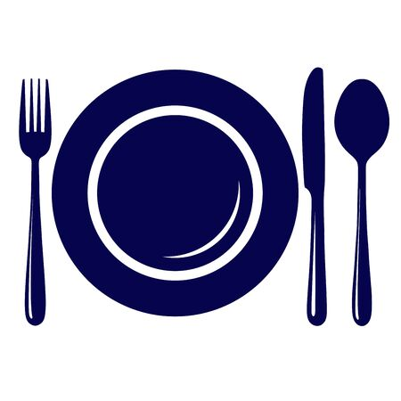 empty plate: Empty plate with knife, fork and spoon icon, symbol, sign isolated on white background Illustration