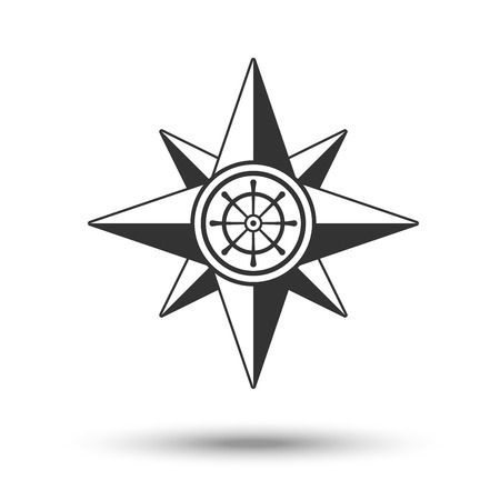 latitude: Wind rose compass icon in dark grey color with steering control isolated on white background