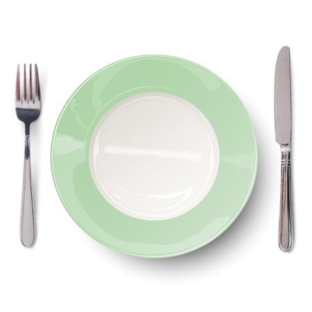 empty plate: Empty plate in green design with knife and fork isolated. View from above. Illustration