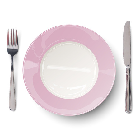 empty plate: Empty plate in light rosy design with knife and fork isolated. View from above.