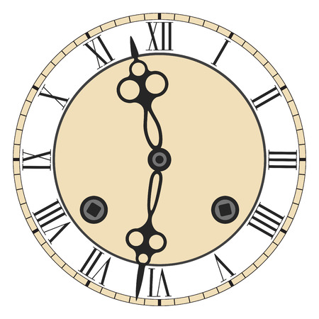 numeros romanos: Cara de reloj con números romanos del reloj con carillón Vectores