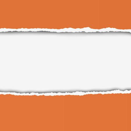 teared: Two pieces of torn orange color paper with ripped edges and white hole between them