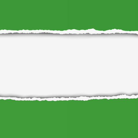 teared paper: Two pieces of torn green color paper with ripped edges and white hole between them