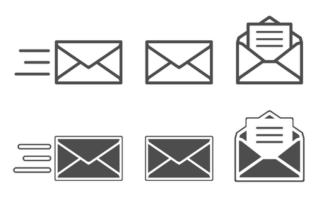 receiving: Symbols of receiving mail, opening envelope and reading messages
