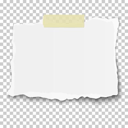 Vector lacero pezzo di carta bianca sul nastro adesivo appiccicoso posto sfondo a scacchi trasparente Vettoriali