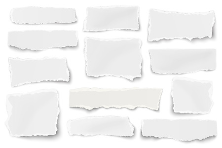 scraps: Set of paper different shapes scraps isolated on white background