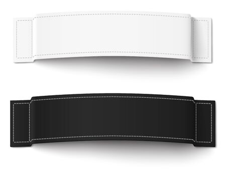 stitching: Two, white and black, fabric labels with stitching isolated