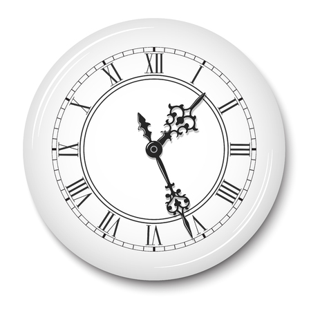 Vector elegant wall clock with roman numerals in white glossy plate used as body with soft shadow isolated