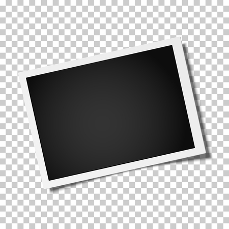 Retro realistic vector photo frame placed horizontally slightly tilted on transparen background. Template photo design.  イラスト・ベクター素材