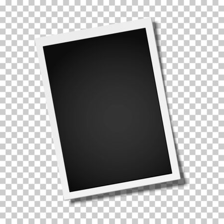 Realistic vector retro photo frame placed vertically slightly tilted on transparen background. Template photo design.  イラスト・ベクター素材