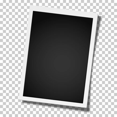 Realistic vector retro photo frame placed vertically  on transparent background. Template photo design. Illustration
