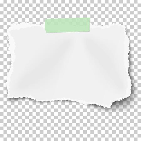 Zerrissener quadratischer Papierschrott mit weichem Schatten auf grünem Klebeband einzeln auf transparentem kariertem Hintergrund. Vorlagendesign.