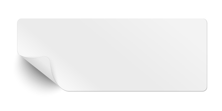 Oblong white sticky paper with curled corner and soft shadow isolated