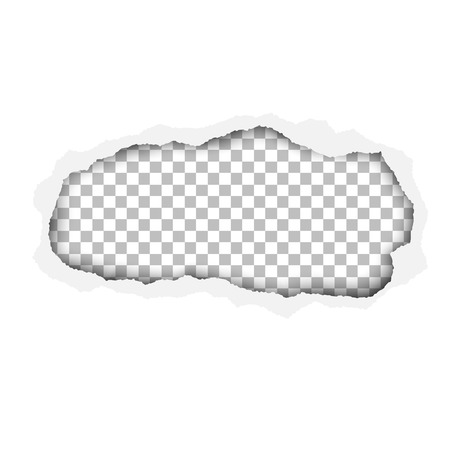 A ragged hole in white paper sheet. Resulting window is transparent checkered. Edges of the hole have soft shadow. Template paper design. Illustration
