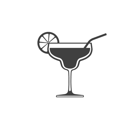 Cocktail glass icon with lime and tube isolated on white background