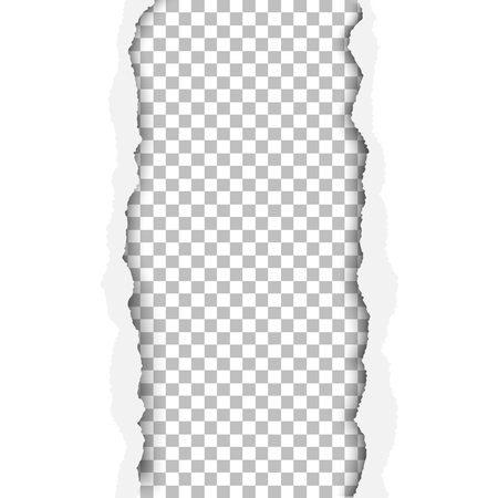 Ragged vertical hole in paper sheet. Main background is white, and the resulting window is transparent and checkered. Edges of the hole have soft shadow. Template paper design.
