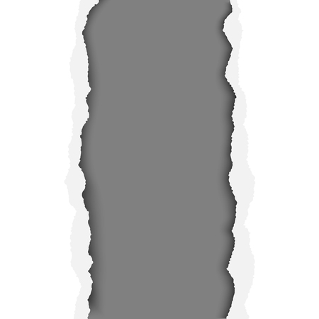 A ragged vertical hole in paper sheet. Main background is white, and the resulting window is dark gray. Edges of the hole have soft shadow. Template paper design. Illustration