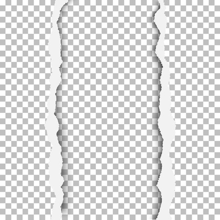 Ragged vertical hole in paper sheet. Main background and the resulting window are transparent and checkered. Edges of the hole have soft shadow. Template paper design.
