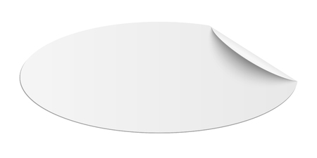 Vector oblong oval white sticky paper with curled corner and soft shadow isolated Illustration