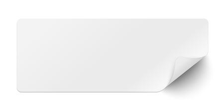 Papier collant blanc oblong avec coin inférieur droit recourbé et ombre douce isolée Vecteurs