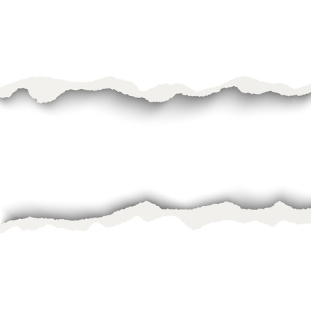 Vector snatched horizontal lane with torn edges in sheet of white paper. White background of the resulting window.Template paper design.