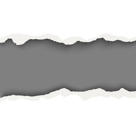 Vector snatched horizontal lane with torn edges in sheet of white paper. Dark gray background of the resulting window.Template paper design. Çizim